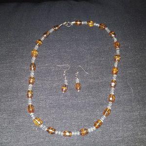 Orange/Clear Beaded Necklace w/Earrings